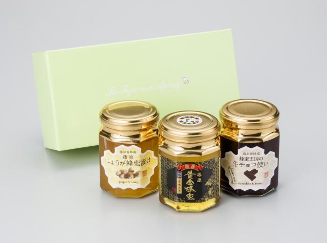 特選3本セット(藤原黄金蜂蜜とち、藤原しょうが蜂蜜漬け、蜂蜜王国の生チョコ使い各160g)3,564円